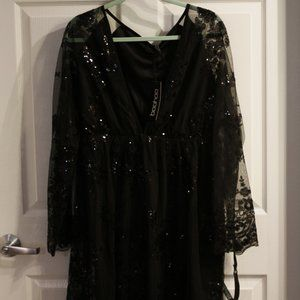 Glittery long sleeve party dress